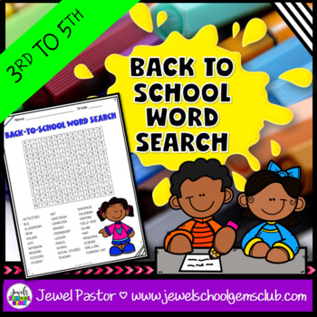 First Day of School Activities (Back to School Word Search