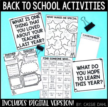 First Day of School Activities and Printables