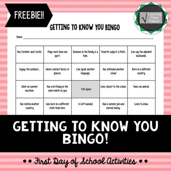First Day of School Activity - BINGO