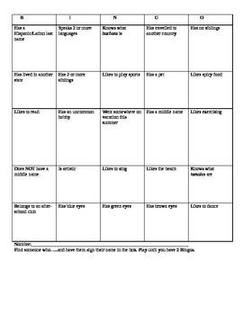 First Day of School Bingo Speaking Activity  for Spanish 1