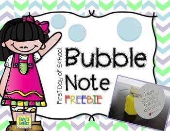 First Day of School Bubble Note {FREE}