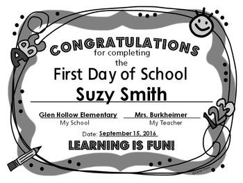 First Day of School Certificate B&W