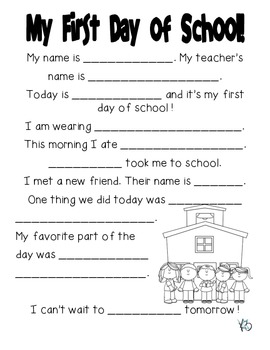 First Day of School Fill in the Blank FREEBIE!