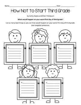 First Day of School - How Not to Start Third Grade Worksheet