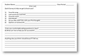 First Day of School Math Survey (Half Sheet)
