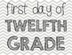 First Day of School Photo Set Gray Chevron K-12