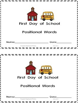 First Day of School Positional Words Booklet