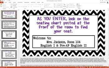 First Day of School PowerPoint Presentation (Editable); Be