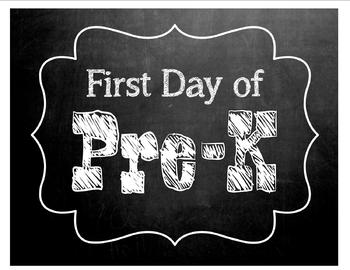 First Day of School- Pre-K sign