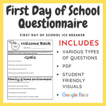 First Day of School Questionnaire - Instant Bell Work