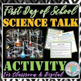 """First Day of School """"Science Talk"""" Activity for Middle and"""