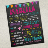 First Day of School Sign | Printable Chalkboard Poster | D