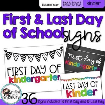 First Day of School Signs - Kindergarten
