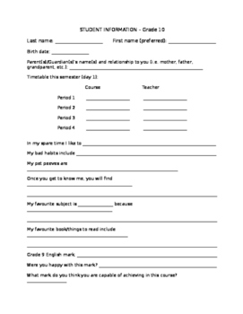 First Day of School Student Information Handout - Fully Editable!