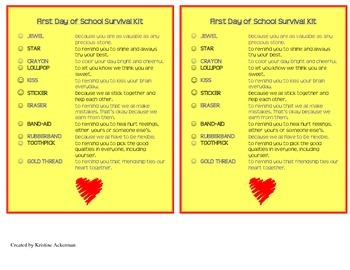 First Day of School Survival Kit