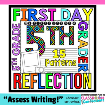 First Day of School for 5th Grade: Reflection Writing Paper