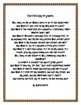 First Day of School writing poetry activity