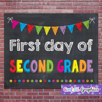 First Day of Second Grade 2 Chalkboard Chalk Sign Back to