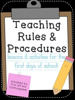 First Days Rules and Procedures Lessons and Activities