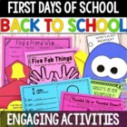 First Days of School Activity Pack, Back to School Activities and craft