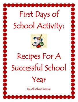 First Days of School Activity: Recipe for a Successful Year