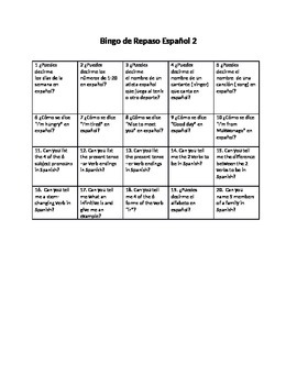 First Days of School Bingo Humano de Repaso  Spanish 2