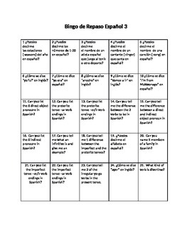 First Days of School Bingo Humano de Repaso  Spanish 3