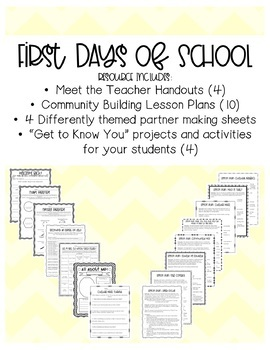 First Days of School: Community Building Lesson Plans and