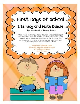 First Days of School Math and Literacy Bundle