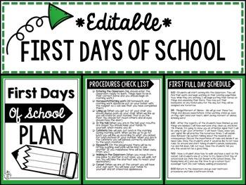 First Days of School Plan