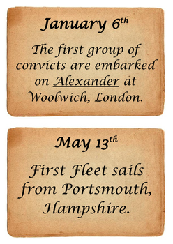 First Fleet timeline cards