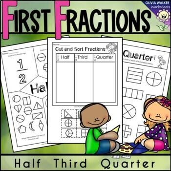 Fraction Worksheets - Half, Third, Quarter (Kindergarten /