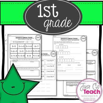 First Grade 1st Quarter Math Assessment (Common Core)