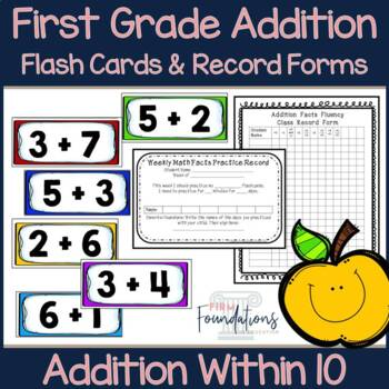 First Grade Addition Flash Cards {Adding Within 10}