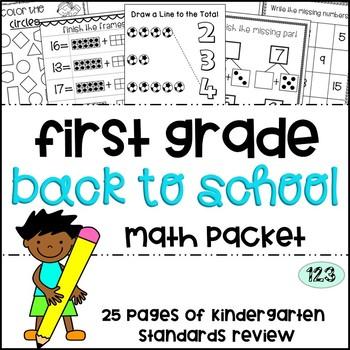 First Grade Back to School Math Packet - Kindergarten Stan