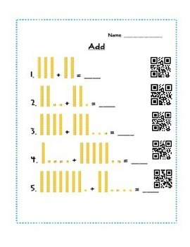 First Grade Base Ten review with QR