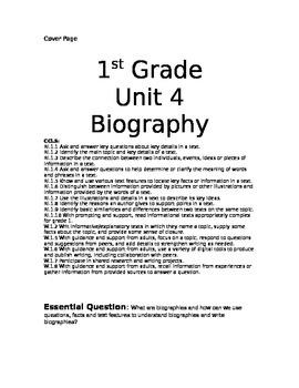 First Grade Biography Unit