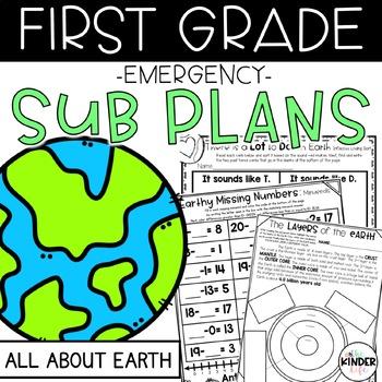 "First Grade C.C. Aligned April ""Earth"" Print & Go Sub Plan"