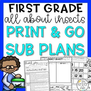 """First Grade C.C. Aligned May """"Insects"""" Print & Go Sub Plan"""