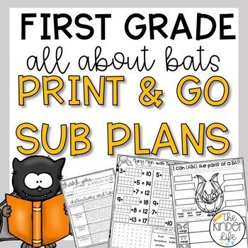 """First Grade C.C. Aligned October """"Bats"""" Print & Go Sub Pla"""