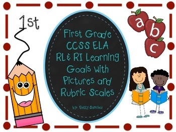 CCSS ELA  Rl & RL  Goals with Graphics and Rubrics for Fir