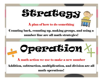 First Grade CCSS Math Vocabulary Word Wall Cards for Bulle
