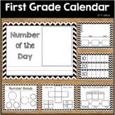 First Grade Calendar Wall, Math Wall Printables Chevron Theme