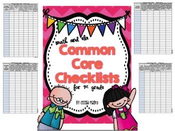 First Grade Common Core ELA and Math Checklists-Editable