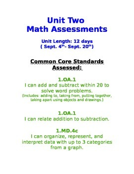 First Grade Common Core Formative and Summative Assessment