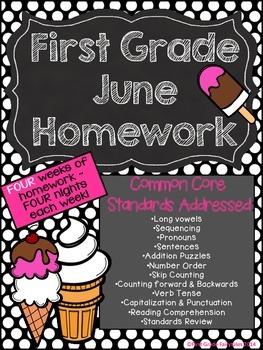 First Grade Common Core Homework - June