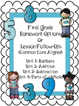First Grade Common Core Homework or Follow-ups (First Half)