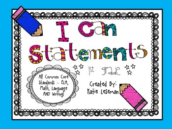 """First Grade Common Core """"I Can Statements"""" - Chalk Pencil Theme"""