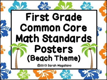 First Grade Common Core Math Standards Posters: Beach Theme