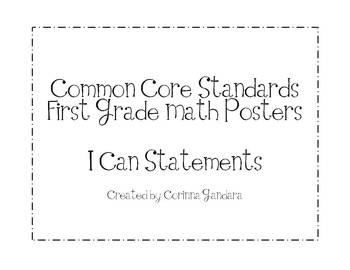 First Grade Common Core Math Standards Posters-Plain